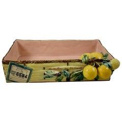 Menton French Faïence Provençal Lemon & Cicada Trompe l'Oeil Shipping Crate Tray