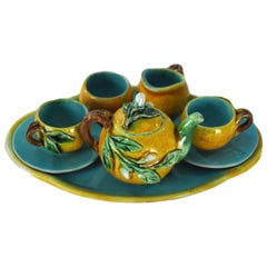 Menton French Majolica Barbotine Miniature Tea Set Signed Perret-Gentil