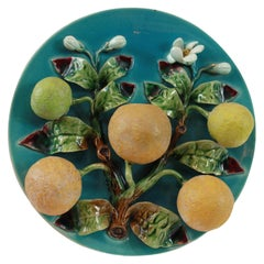 Menton French Majolica Wall Plaque on a Turquoise Ground with Oranges, ca. 1880