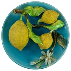 Menton French Majolica Wall Plaque Turquoise with Lemons by J. Saissi circa 1880