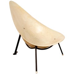 Mérat Early French Fiberglass Easy Chair Attributed to Rj Caillette France, 1956