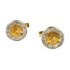 Mercedes Benz Logo Yellow Gold and Diamonds Cufflinks