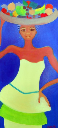 Beach Girl by Mercedes Lasarte Oil on Canvas
