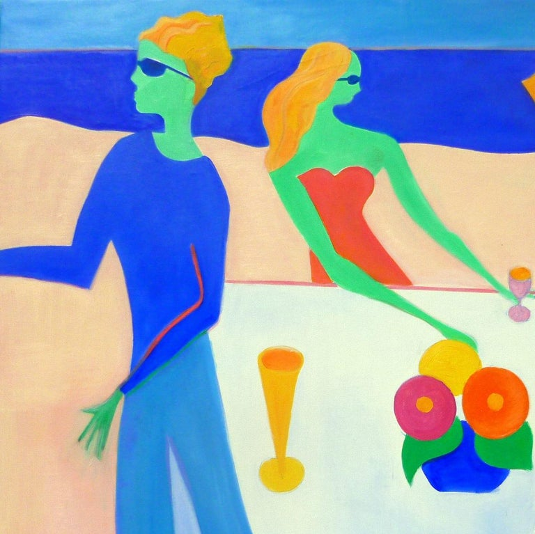 Beach Party II by Mercedes Lasarte Oil on Canvas For Sale 1