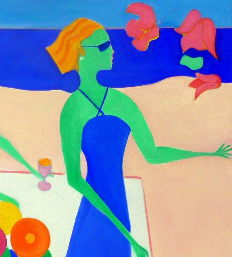 Beach Party II by Mercedes Lasarte Oil on Canvas For Sale 3