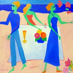 Beach Party II by Mercedes Lasarte Oil on Canvas