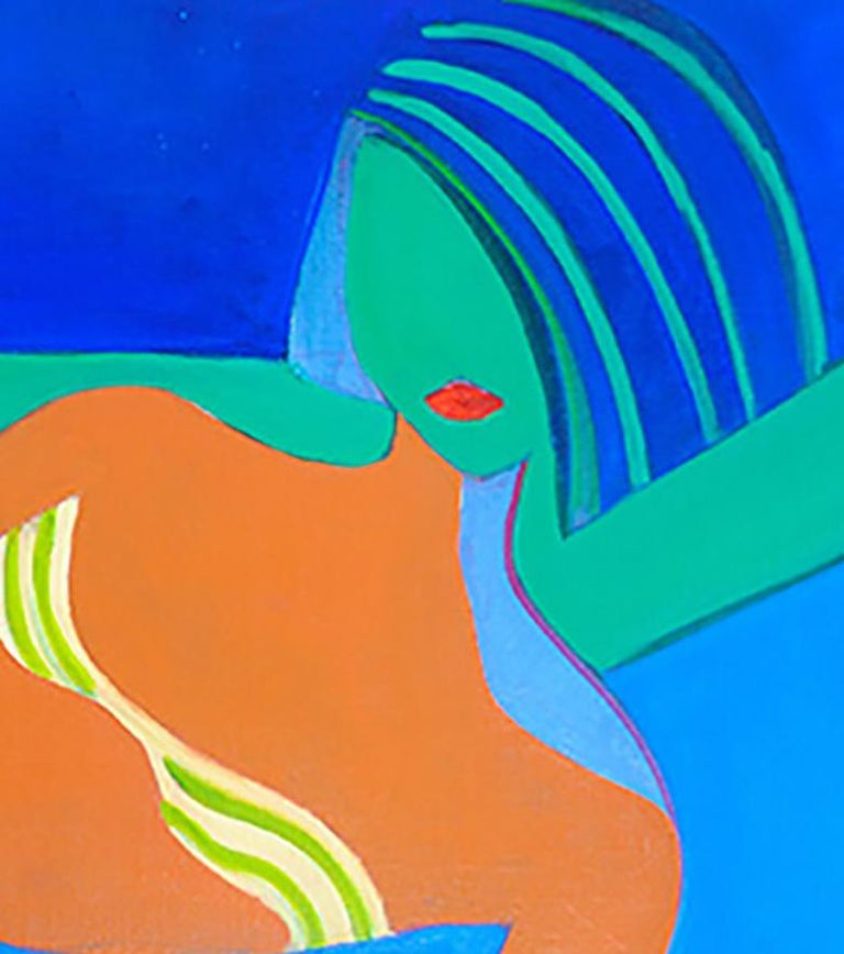 Blue by Mercedes Lasarte Oil on Canvas For Sale 1