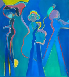 Blue Dancers Series XI by Mercedes Lasarte Oil on Canvas