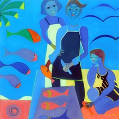 Fish Market by Mercedes Lasarte Oil on Canvas