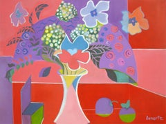 Flowers Red by Mercedes Lasarte Oil on Canvas