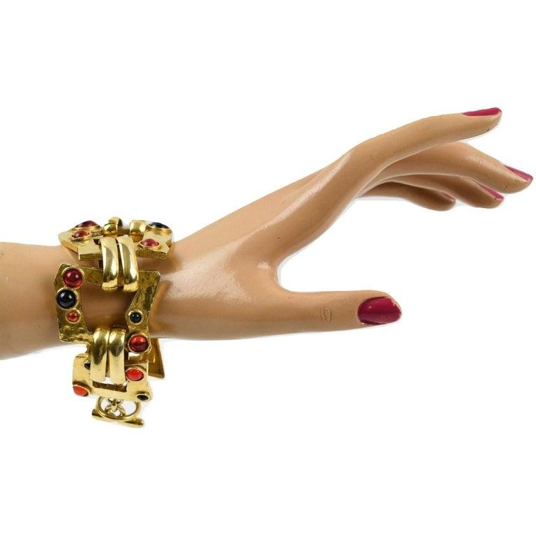 Mercedes Robirosa Link Bracelet Red Black Poured Glass Cabochon For Sale 2