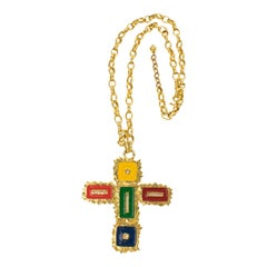 Mercedes Robirosa Oversized Gilt Metal and Enamel Cross Pendant Necklace