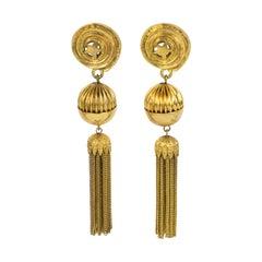 Mercedes Robirosa Oversized Gilt Metal Dangle Clip Earrings