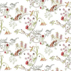 Mercia Vines in Cream Botanical Tropical Wallpaper