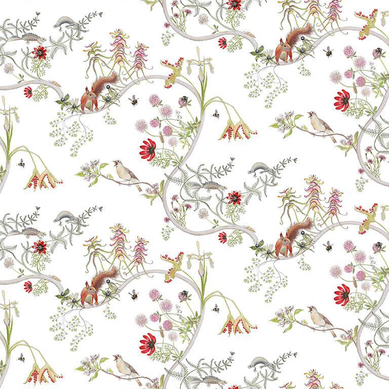 Mercia Vines in Cream Botanical Tropical Wallpaper For Sale