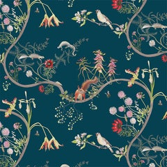 Mercia Vines in Deep Blue Botanical Birds and Bees Wallpaper