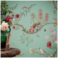 Mercia Vines in Verdigris Botanical Birds and Bees Wallpaper