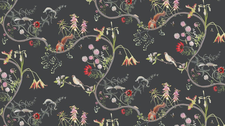 Other Mercia Vines Slate Botanical Birds and Bees Wallpaper For Sale