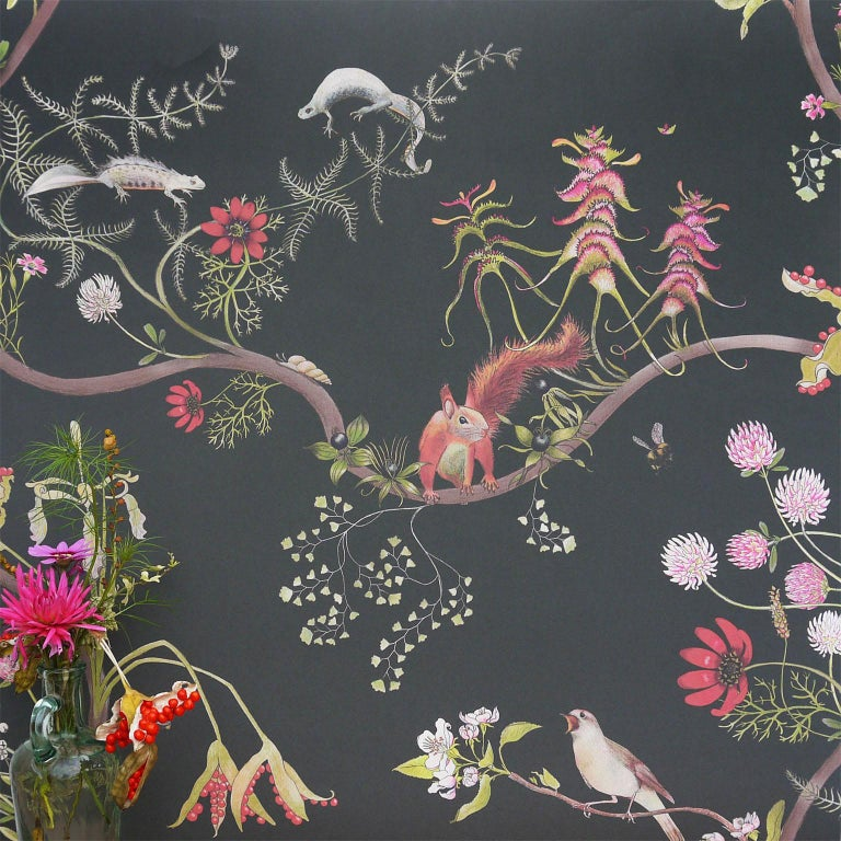 Mercia Vines Slate Botanical Birds and Bees Wallpaper In Excellent Condition For Sale In Kent, GB