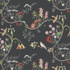 Mercia Vines Slate Botanical Birds and Bees Wallpaper