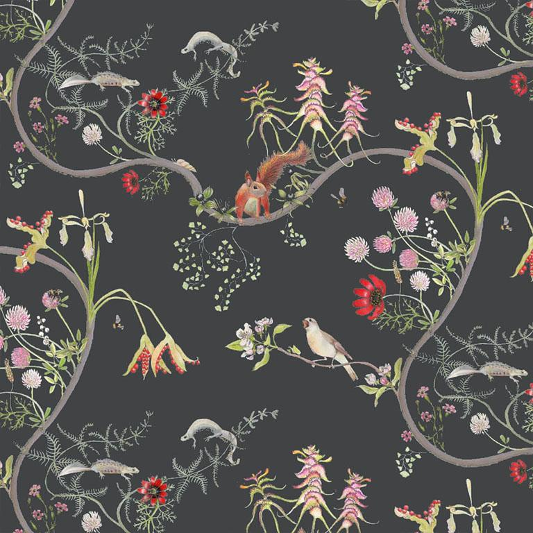 Mercia Vines Slate Botanical Birds and Bees Wallpaper For Sale