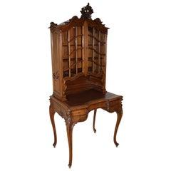 Mercier Frères Louis XV Walnut Desk with Top Hutch, circa 1895