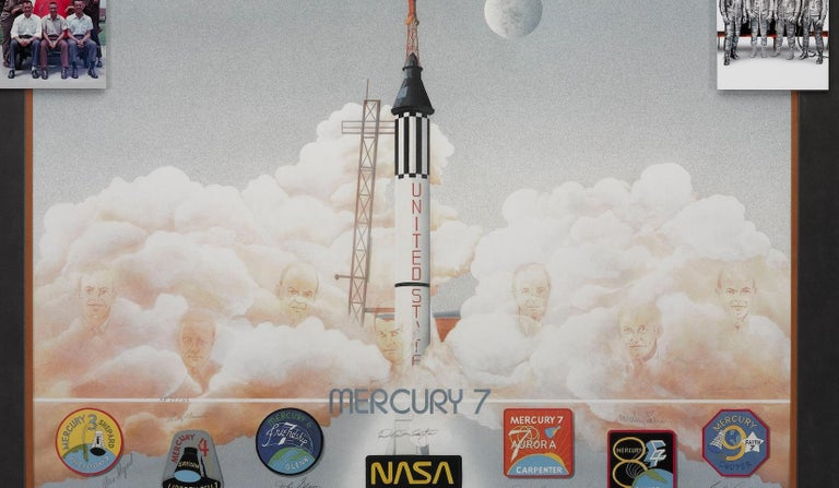 This iconic Mercury seven color lithograph, by artist George Bishop, is a signed limited edition collector's piece celebrating America's seven first space pioneers; the seven chosen astronauts for Project Mercury and the race to space with the