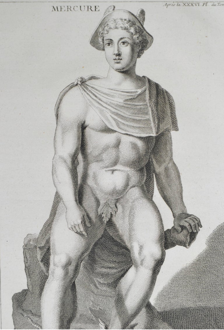 Copper engraving featuring Mercury. From the book L'antiquite Expliquee et Representee en Figures. By the Benedisctine Monk Bernard de Montfaucon. In mat and ready to frame.