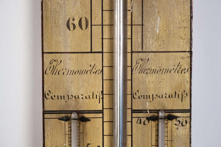 Wood Mercury Barometer from the 19th Century, Napoleon III Period For Sale