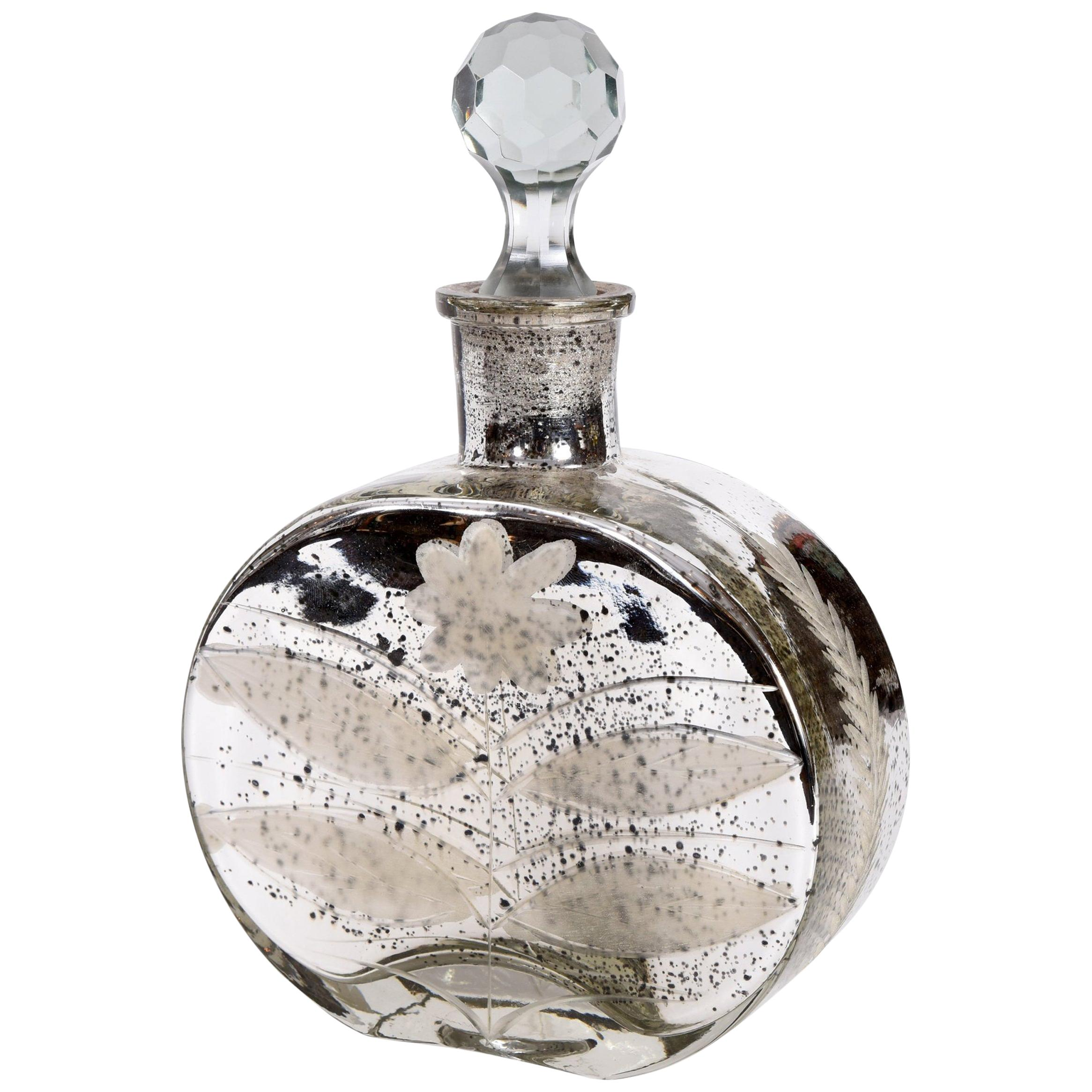 Mercury Glass Decorative Bottle Vanity Table Piece