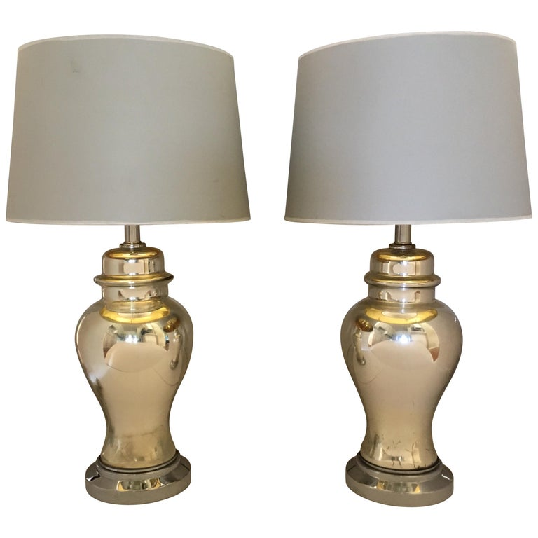 Mercury Glass Ginger Jar Table Lamps, Pair For Sale
