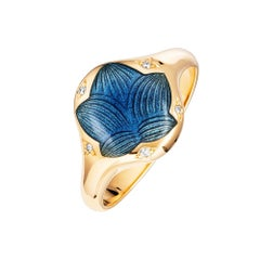 Victor Mayer Merian Medium Blue Enamel Ring 18k Yellow Gold with Diamonds
