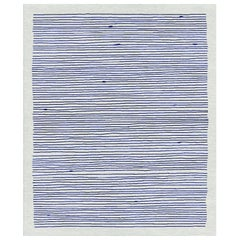 Merida, Blue Striped Hand Knotted Wool Silk Rug