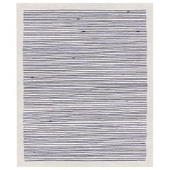 Merida, Blue Striped Hand Knotted Wool Silk Rug