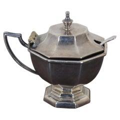 Meriden Silver Plate Salt Cellar Condiment Dish Cobalt Glass Insert & Spoon