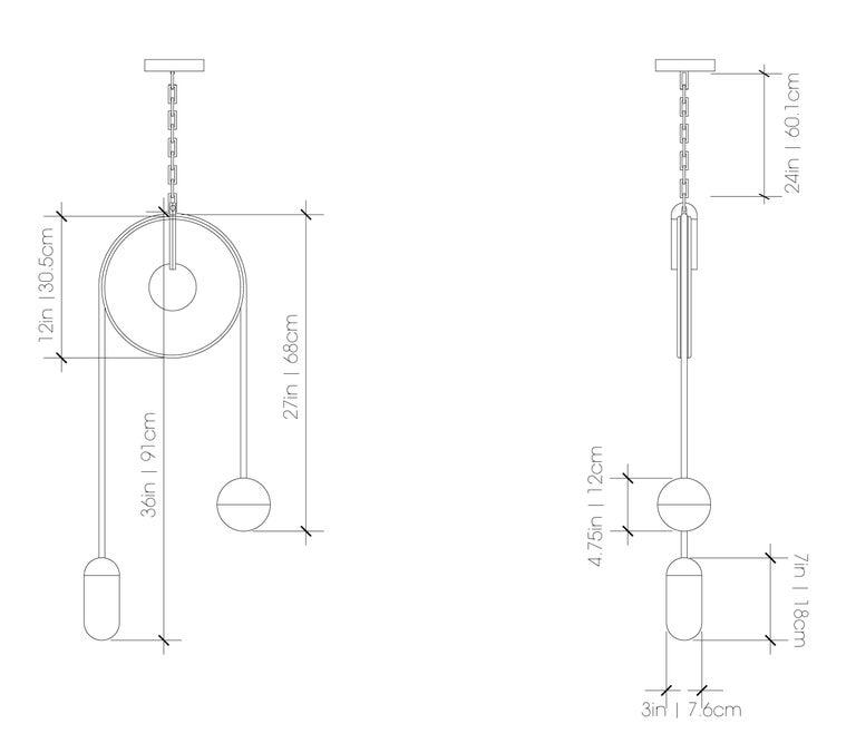 Meridian, Brass, Marble, Handblown Glass Contemporary Pendant, Kalin Asenov For Sale 5