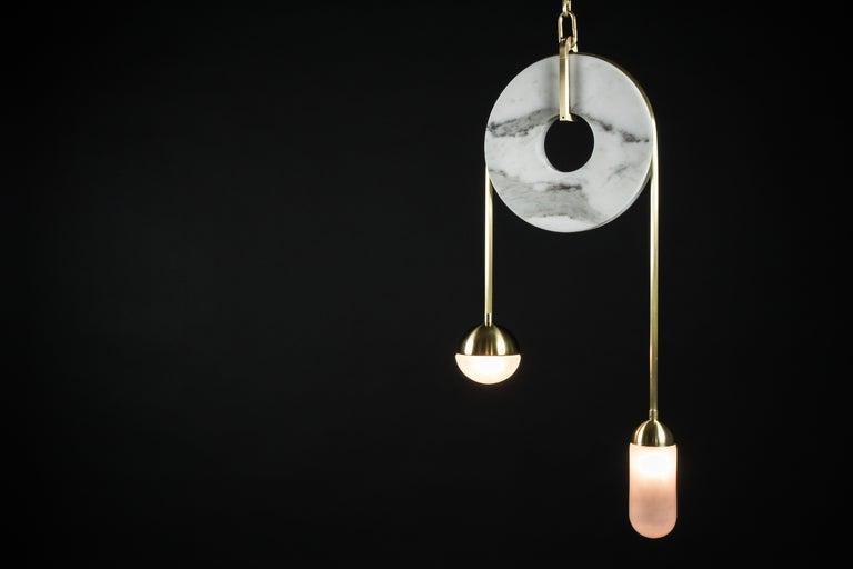 Meridian, Brass, Marble, Handblown Glass Contemporary Pendant, Kalin Asenov For Sale 6