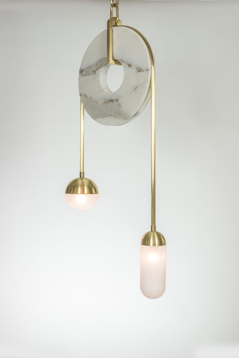 Meridian, Brass, Marble, Handblown Glass Contemporary Pendant, Kalin Asenov For Sale 8