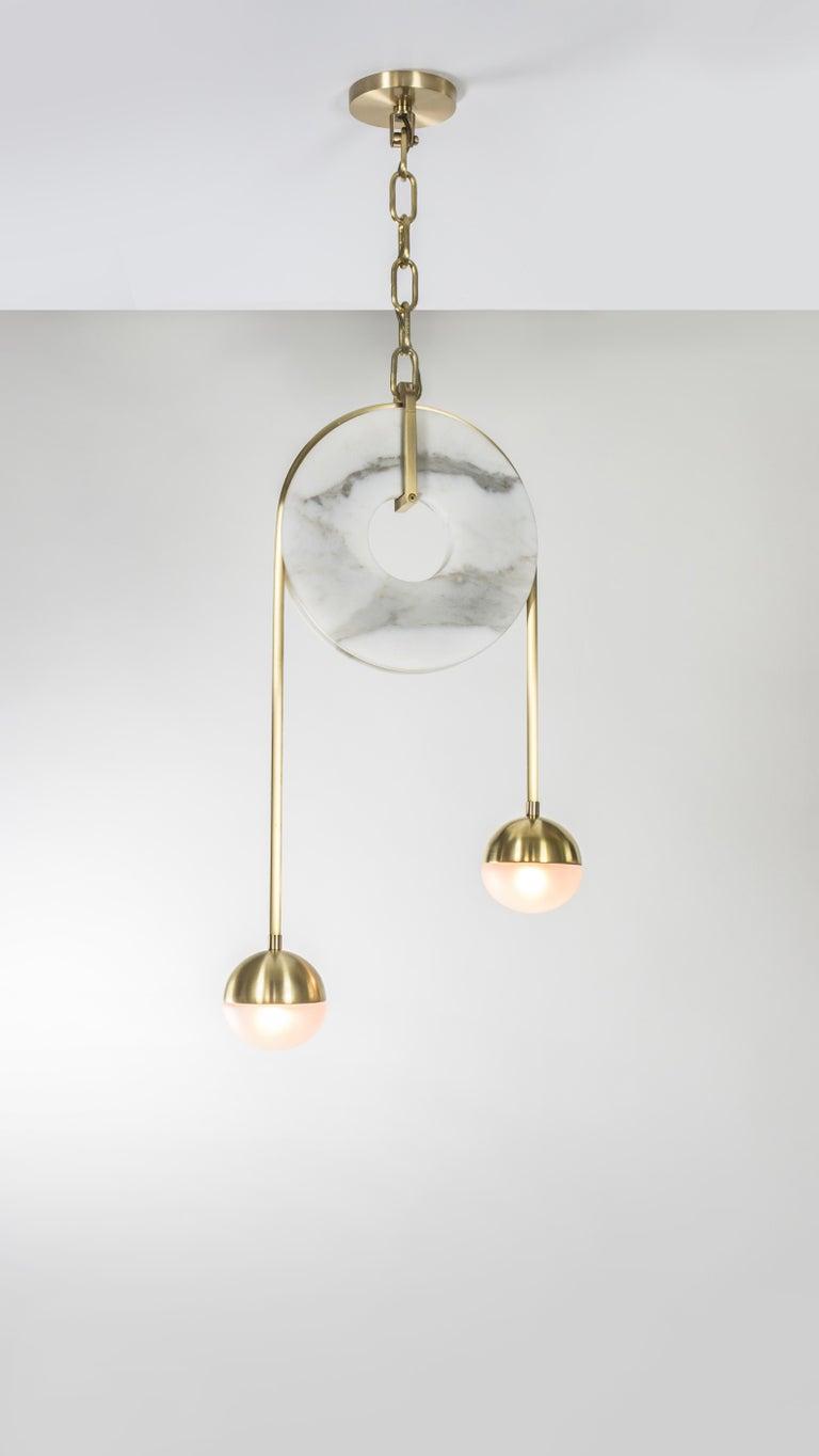Meridian, Brass, Marble, Handblown Glass Contemporary Pendant, Kalin Asenov For Sale 9