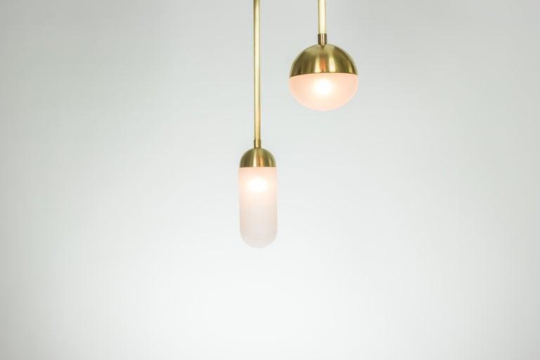 Meridian, Brass, Marble, Handblown Glass Contemporary Pendant, Kalin Asenov For Sale 10