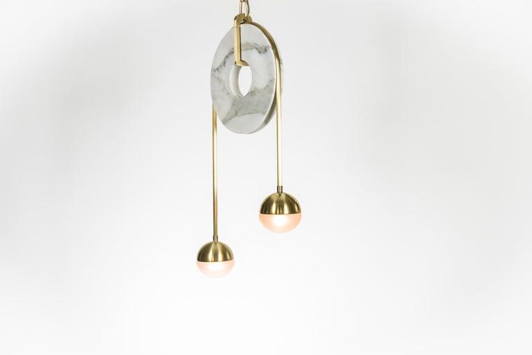 Meridian, Brass, Marble, Handblown Glass Contemporary Pendant, Kalin Asenov For Sale 11