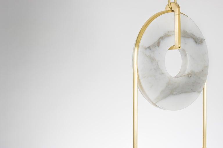 Meridian, Brass, Marble, Handblown Glass Contemporary Pendant, Kalin Asenov For Sale 12