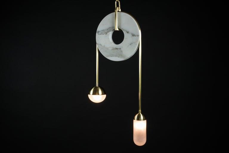 Meridian, Brass, Marble, Handblown Glass Contemporary Pendant, Kalin Asenov For Sale 13