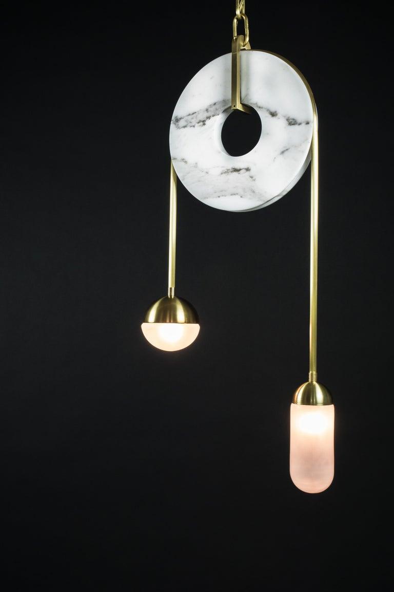 Meridian, Brass, Marble, Handblown Glass Contemporary Pendant, Kalin Asenov For Sale 14