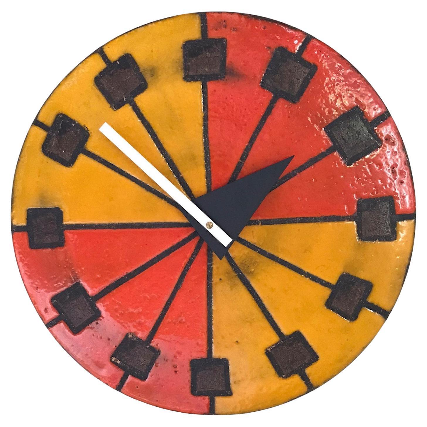 Meridian Italian Modern Ceramic Wall Clock by Bitossi for Howard Miller, 1963