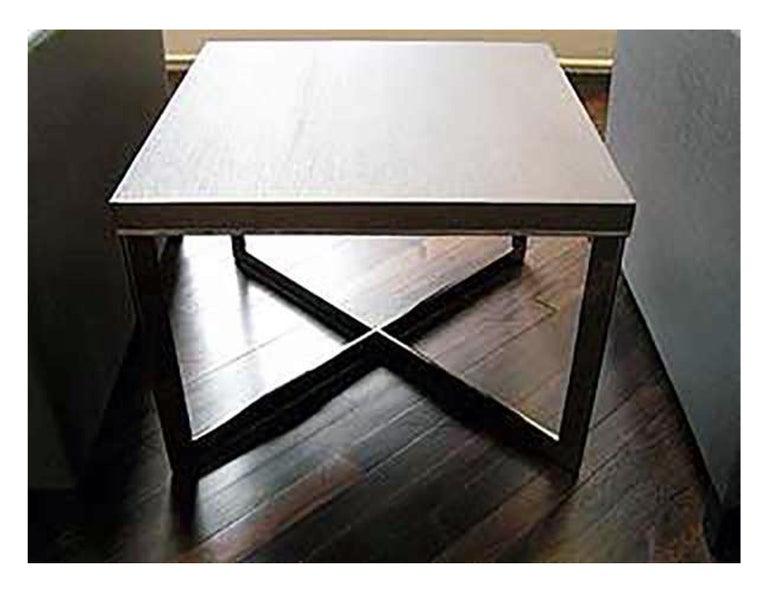 European Meridiani Grey Stained Oak Cross Coffee Table For Sale