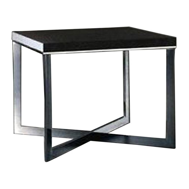 Meridiani Grey Stained Oak Cross Coffee Table For Sale