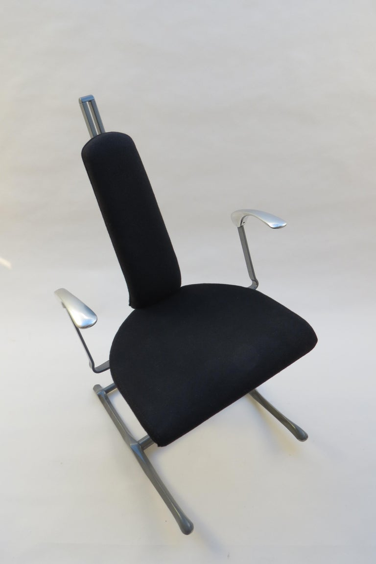 Office desk chair designed by Michael Dye for Hille. Dates from the 1990s.  The chair adjusts to suit you, both the backrest and the seat. The base also rocks into 3 different positions. Incredibly comfortable and provides a very comfortable