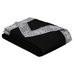 Merino Black Queen Size Blanket with Grey Print Border by JG Switzer