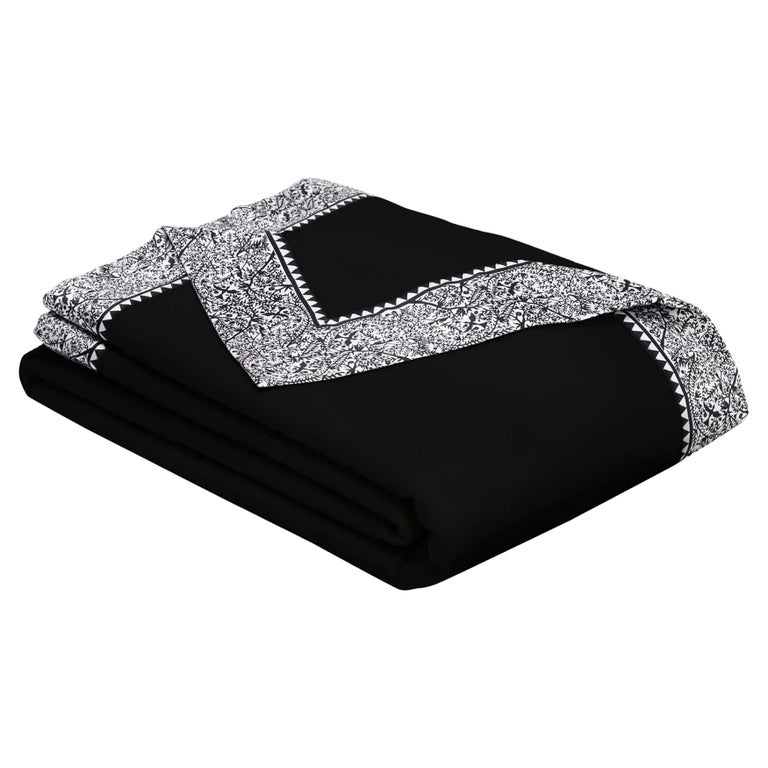 Merino Black Queen Size Blanket with Grey Print Border by JG Switzer For Sale